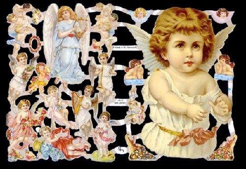 1 Bogen Glanzbilder Poesie Weihnachten Engel mit glimmer ef 7371 Nr.166
